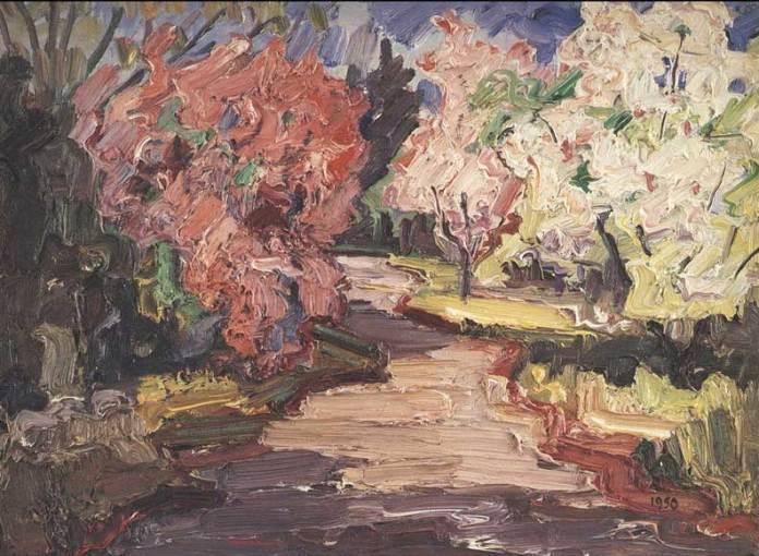Михайло Мороз. Розцвілий сад при дорозі. Глен-Ков, Нью-Йорк, 1950 р.