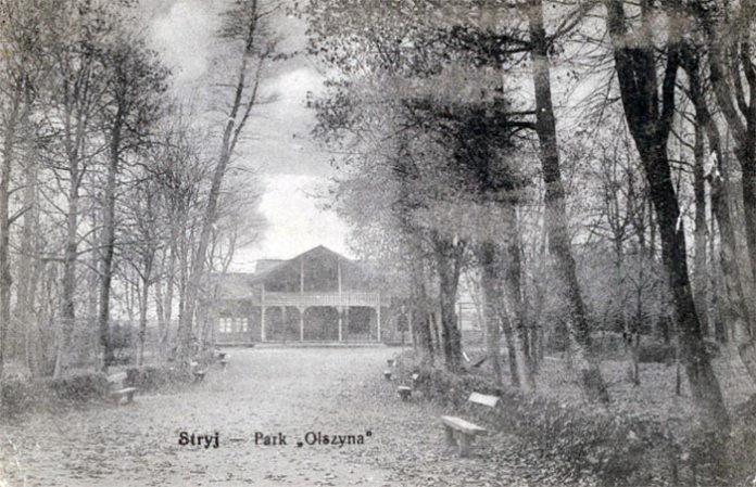 """Парк """"Вільшина"""" у Стрию. Тут пластуни, зокрема й С.Бандера, часто проводили свої таємні сходини """"середньошкільників"""" і звичайні пластової сходини. Парк був закладений у 1830 році неподалік від руїн старого замку, на місці колишнього гаю. Тепер це міський парк Тараса Шевченка"""