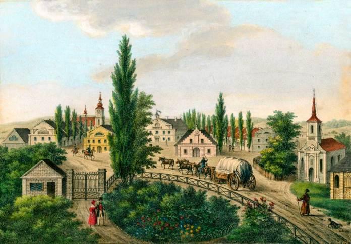 Гравюра із зображенням середмістя (автор Кароль Ауер, 1837 р.). Джерело: art.lviv-online.com/karl-auer/