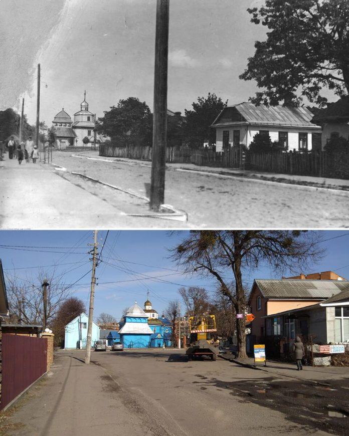 Дорога до храму з різницею у 90 років. Верхнє фото 1930-х років, віднайдене дослідником Василем Гудзієм. Унизу – сучасне фото