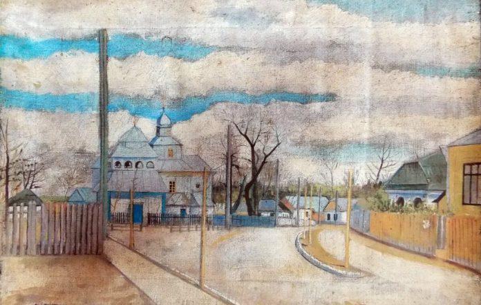 Картина невідомого художника із зображенням Свято-Успенської церкви дорадянських часів, подарована Рівненському музею рівнянкою Іриною Галатюк