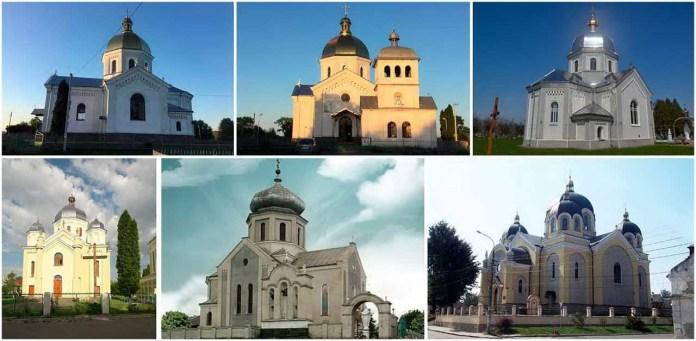 Церкви збудовані за проектами Василя Нагірного