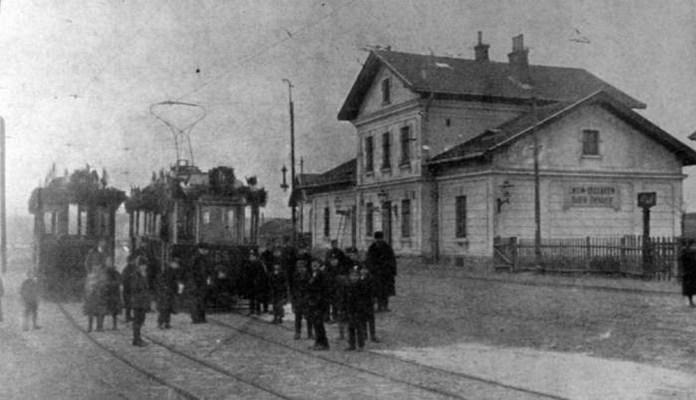 Пасажирський будинок станції Личаків і кінцева зупинка трамвая. Фото 1914 р.