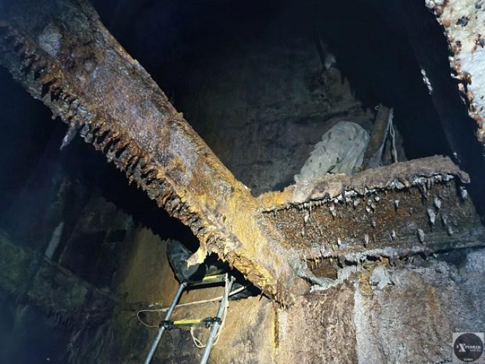 Вид з колектора на місце куди ми змогли спуститися по металевих драбинах