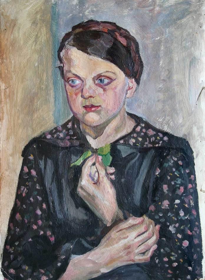 Олекса Новаківський. Портрет Теодозії Комар (?). 1920-ті. Картон, олія.