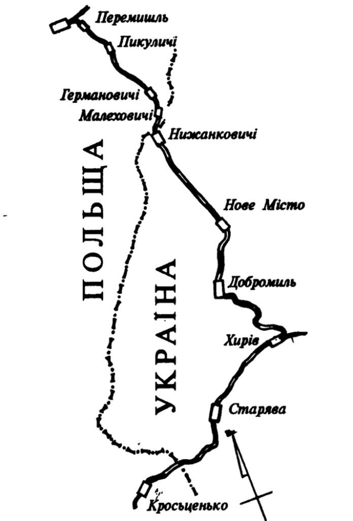 Схема української частини колишньої Першої Угорсько-Галицької залізниці через Хирів