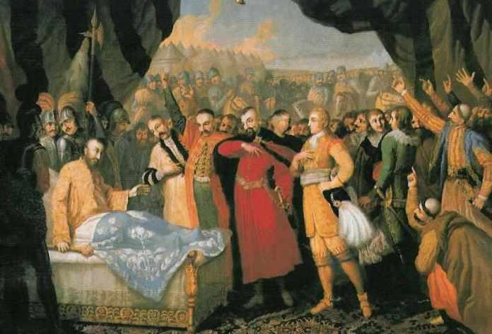 """""""Смерть Яна Ходкевича"""", художник Франциск Смуглєвіч, робота 1806 року. Нині в палаці-музеї Замойських у Козлувці"""