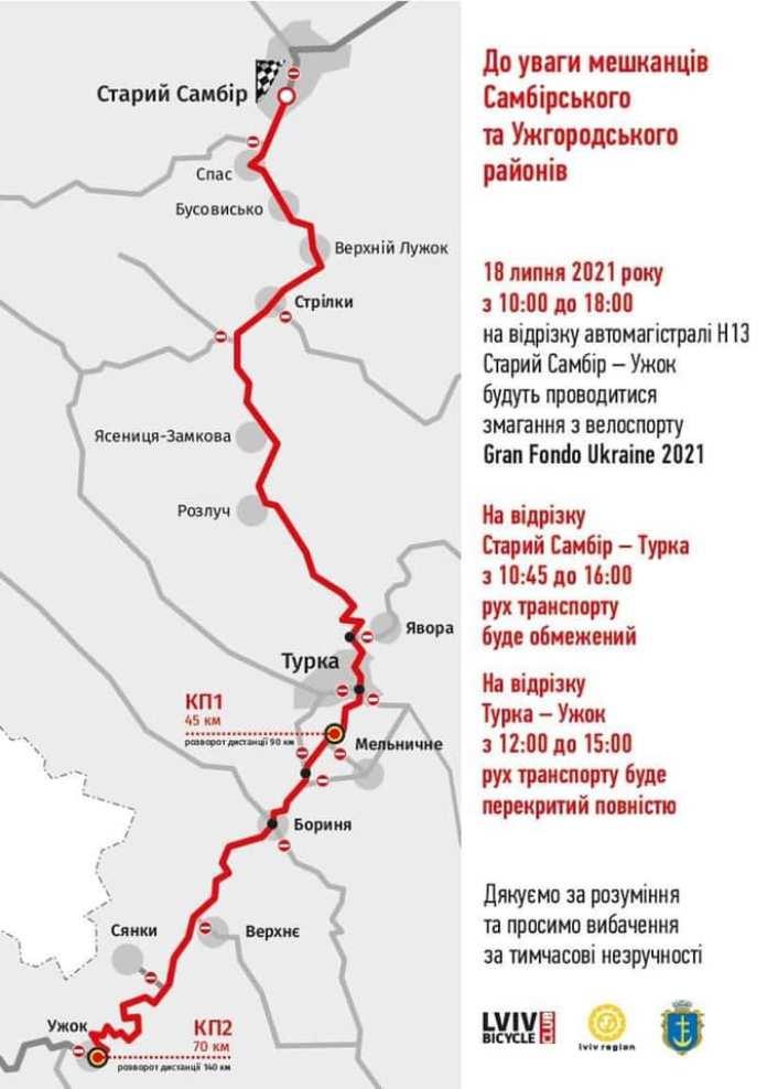 Маршрут веломарафон гірськими дорогами Gran Fondo Ukraine