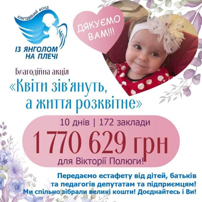 Діти Львова зібрали понад 1 мільйон 700 тисяч гривень для порятунку життя маленької Вікторії Полюги
