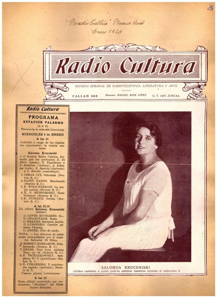 Повідомлення про концерт Соломії Крушельницької на радіо Культура, Буенос-Айрес, 9 січня 1924 р.