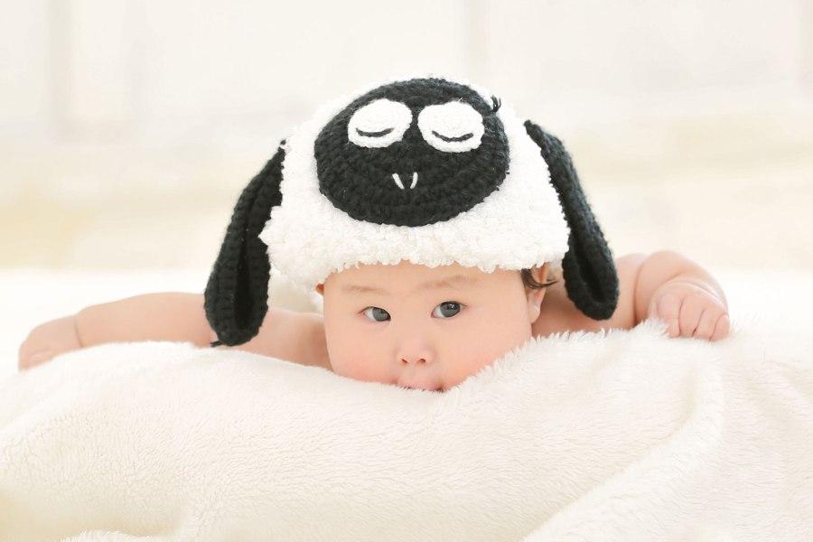 羊の被り物を被った赤ちゃん2