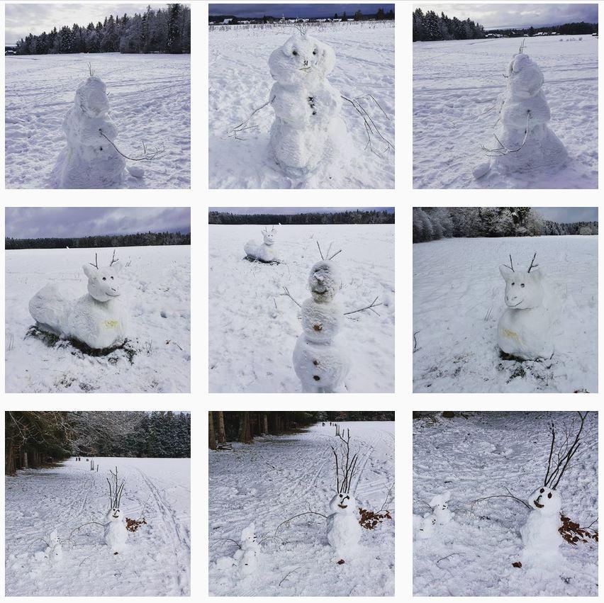 Das Bild zeigt neun Schneefiguren zum Teil mit Hindepinkelspuren