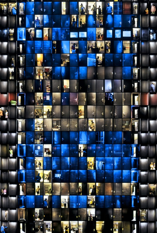 """Detail from Mikhael Subotzky and Patrick Waterhouse, """"Doors,"""" Ponte City, Johannesburg, 2008–2010, light box with color transparency, 388 × 128.4 × 15.24 cm (152 ¾ × 50 ½ × 6 in.)"""