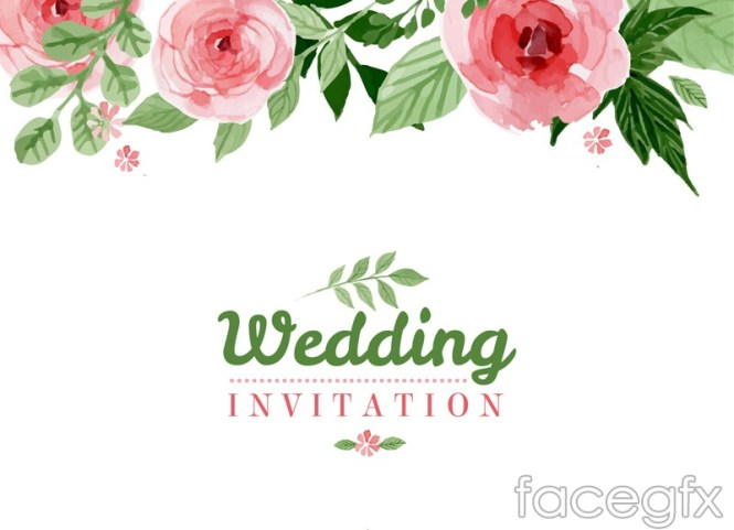 Pink Flower Wedding Invitation Poster Vector Graphics