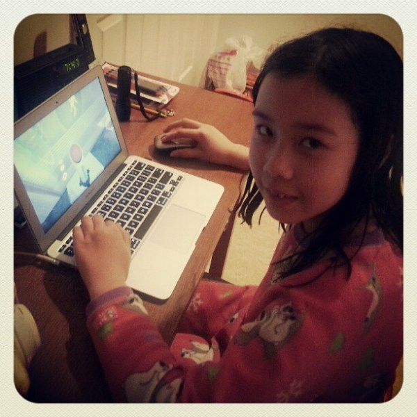 She's playing Portal 2! Can't wait to play together. ;)