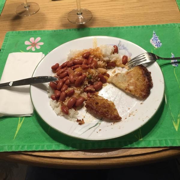 Bacalaoitos, rice and beans. NOMNOMNOM