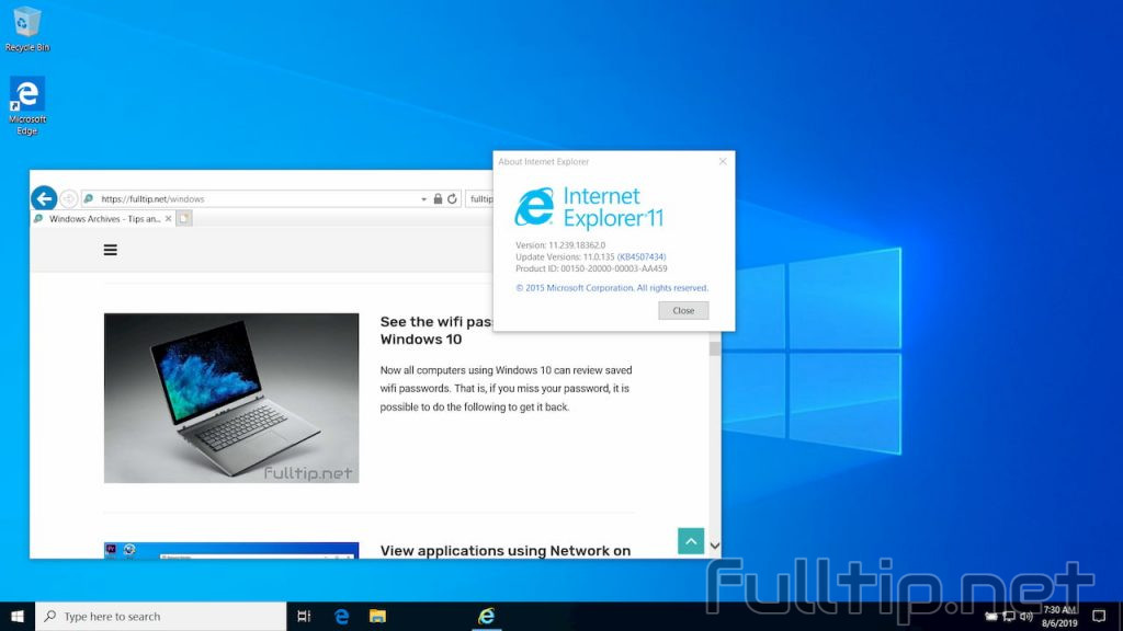 Internet Explorer on Windows 10