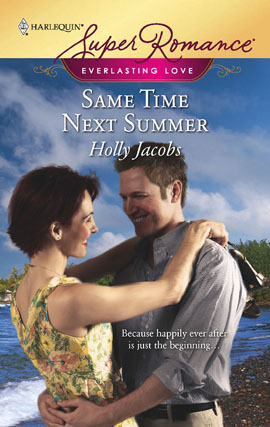 book cover showing the couple embracing on the shore of a lake