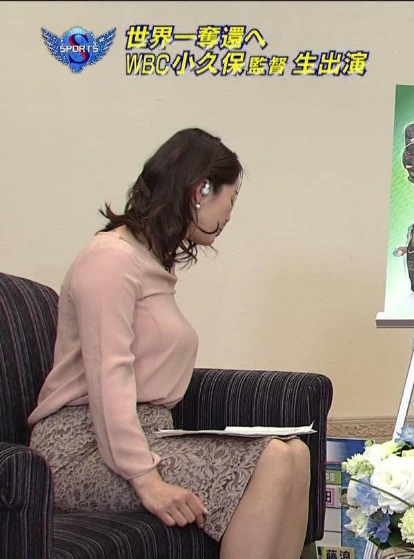 杉浦友紀アナ[NHK]横からのアングルでとんでもないロケット巨乳が発射された件w2