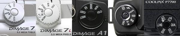 Évolutions du barillet de réglages: Minolta 5 et 7; 7i et 7Hi; A1 et A2; Sony α100; et enfin éphémère résurgence sur les Nikon P7000, P7100 et P7700. photos DPreview et constructeurs