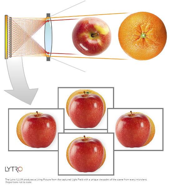 Exemple de déplacement a posteriori du point de vue. document Lytro