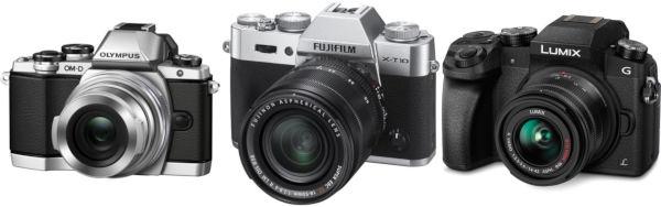 Olympus E-M10 II, Fujifilm X-T10 et Panasonic G7 sont des concurrents directs. La Tipa a récompensé les deux de gauche (en classant curieusement le X-T10 en entrée de gamme), l'Eisa a récompensé les deux de droite (en qualifiant le G7 d'appareil photo et vidéo).