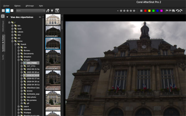 AfterShot Pro en mode navigateur de fichiers.