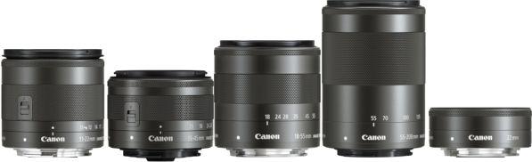 Toute la gamme EF-M au 10 mai 2016. - photo Canon