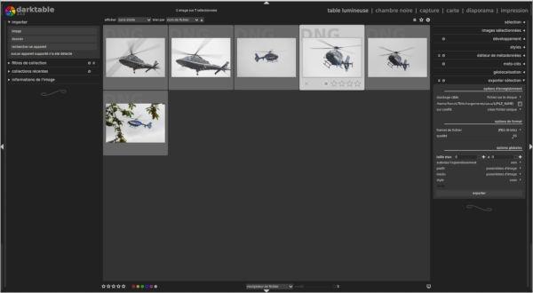 Darktable (catalogueur/développeur) en train de classer des photos. Ne cherchez pas comment assembler deux photos, c'est pas son travail.