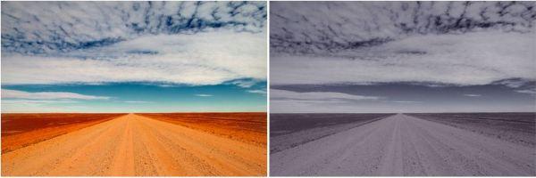 """""""Les valeurs TSV des photos Instagram postées par des individus déprimés se rapprochaient plus de l'image de droite que celles des photos postées par des individus sains."""""""