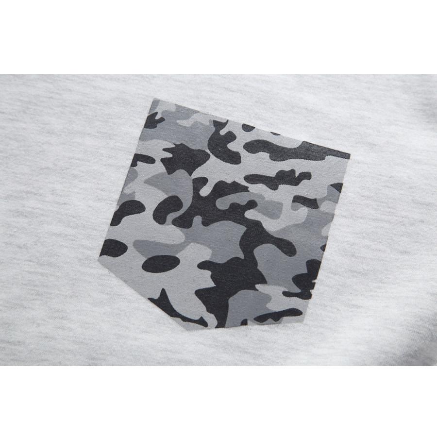 迷彩印刷口袋.V領素色長T - HITO本舖