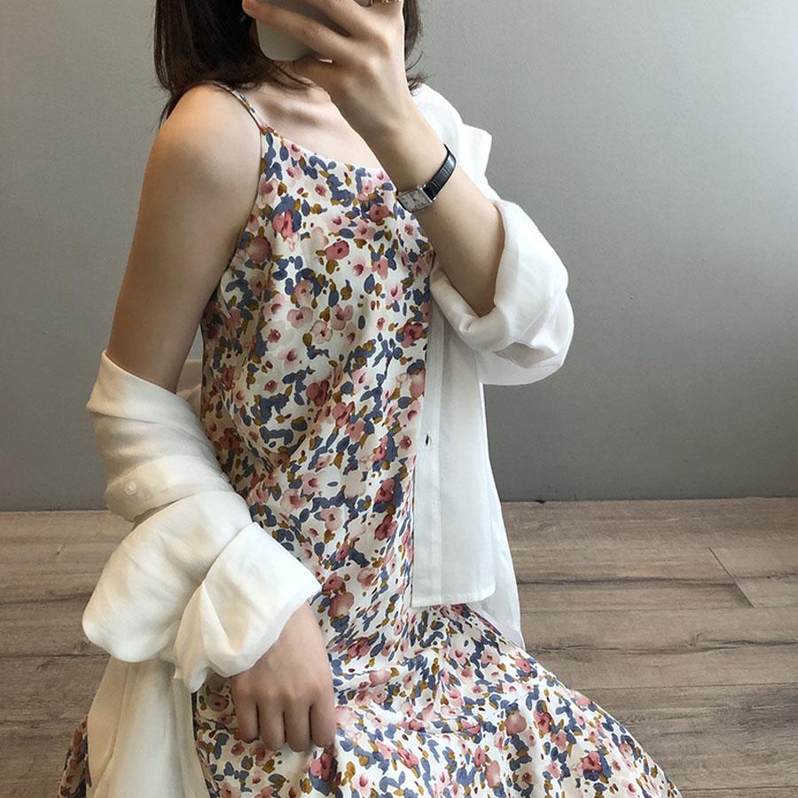 韓版復古碎花細肩帶裙魚尾洋裝 - HITO本舖