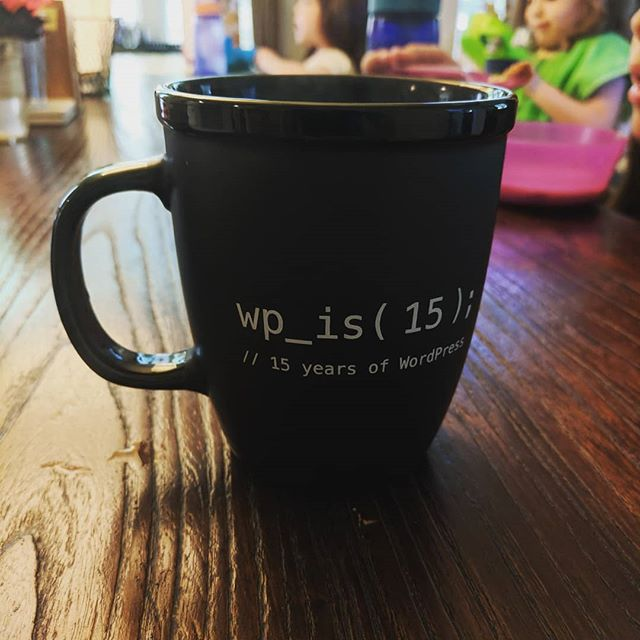 <span class='p-name'>A good mug for today. Happy Birthday to the software that helped me go from tech being a geeky hobby to tech being a solid career. Thanks WordPress</span>