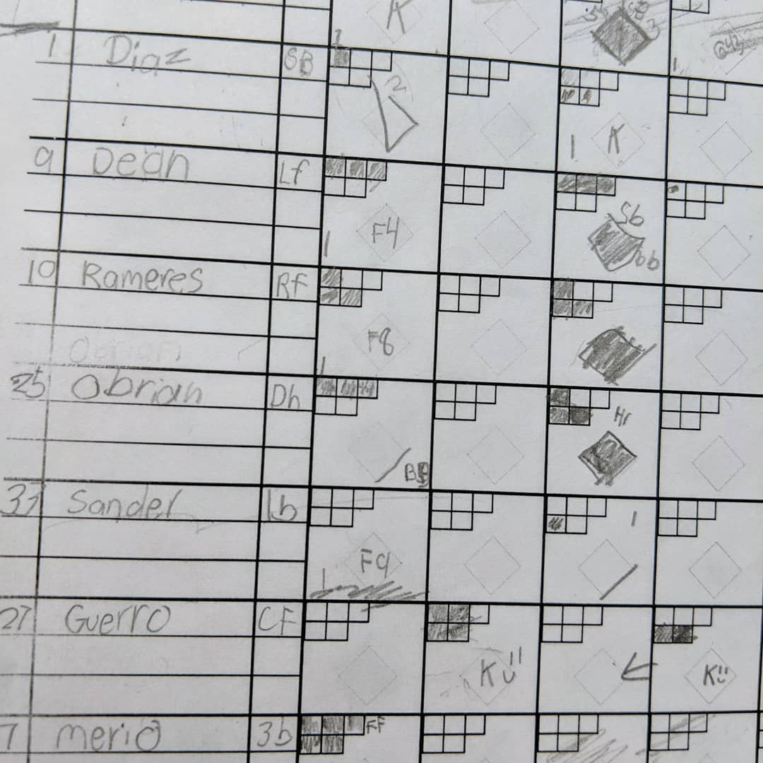 "Catalina's first attempt at scorekeeping over the weekend at the @rrexpress and then the official record. She did a lot better than I expected (the top line that's mostly cut off was our practice ""player""). She might get upgraded from bat girl to scorekeeper for my tee-ball team next season"
