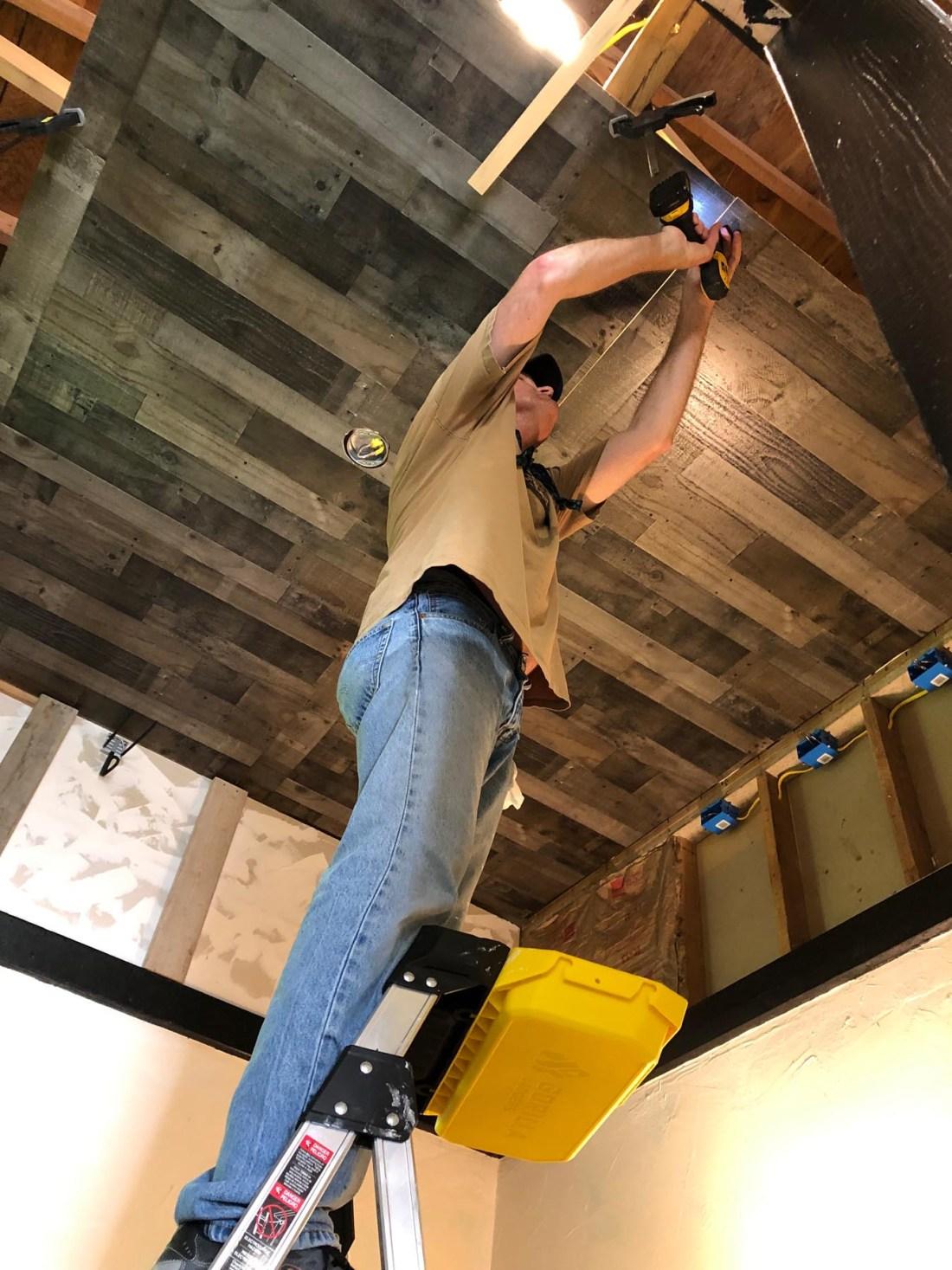 Installing studio ceiling