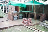 Outdoor brick built fireplace/bbq with chimney ...