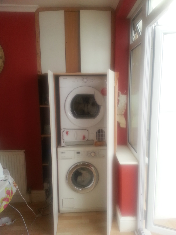 kitchen cabinet fronts cherry table build around stacked washer+tumble dryer ...