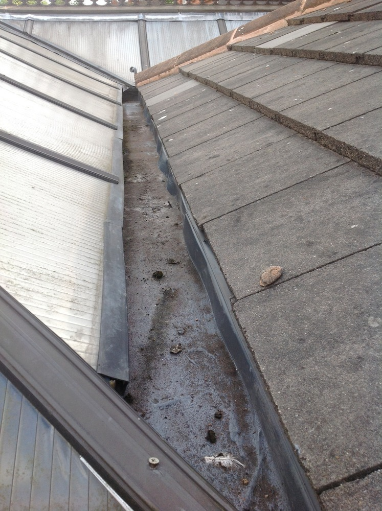 Box guttering leaking into conservatory  Roofing Flat