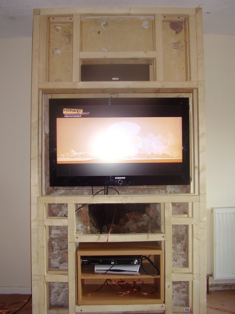 Gas Fire RemovedChimney Breast Extended to fit TV etc  Gas Work job in Bolton Lancashire