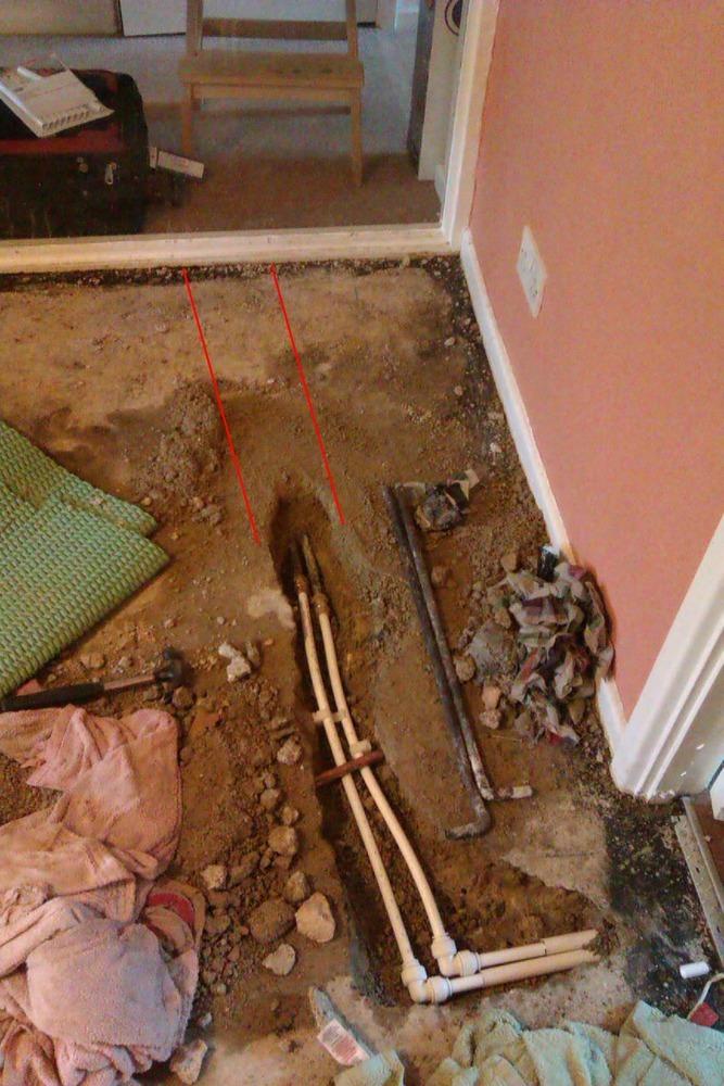 Insulate copper pipe under concrete  Plumbing job in
