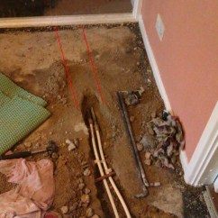 Concrete Kitchen Floor Vintage Style Faucets Insulate Copper Pipe Under - Plumbing Job In ...