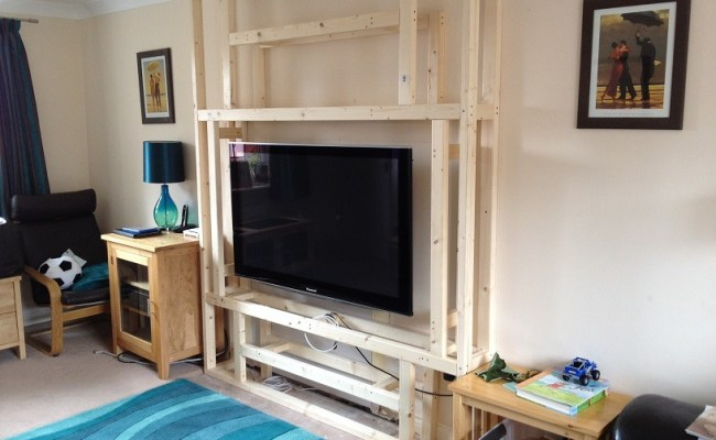 False Stud Wall Against Existing Wall For Recessed Tv