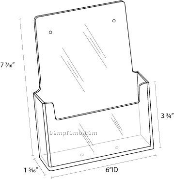 Brochure Holder- Wall Mount Slant Back Holds 5 3/4