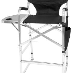 Tall Directors Chair With Side Table Covers Queen Anne Imported Bar Height Aluminum Director