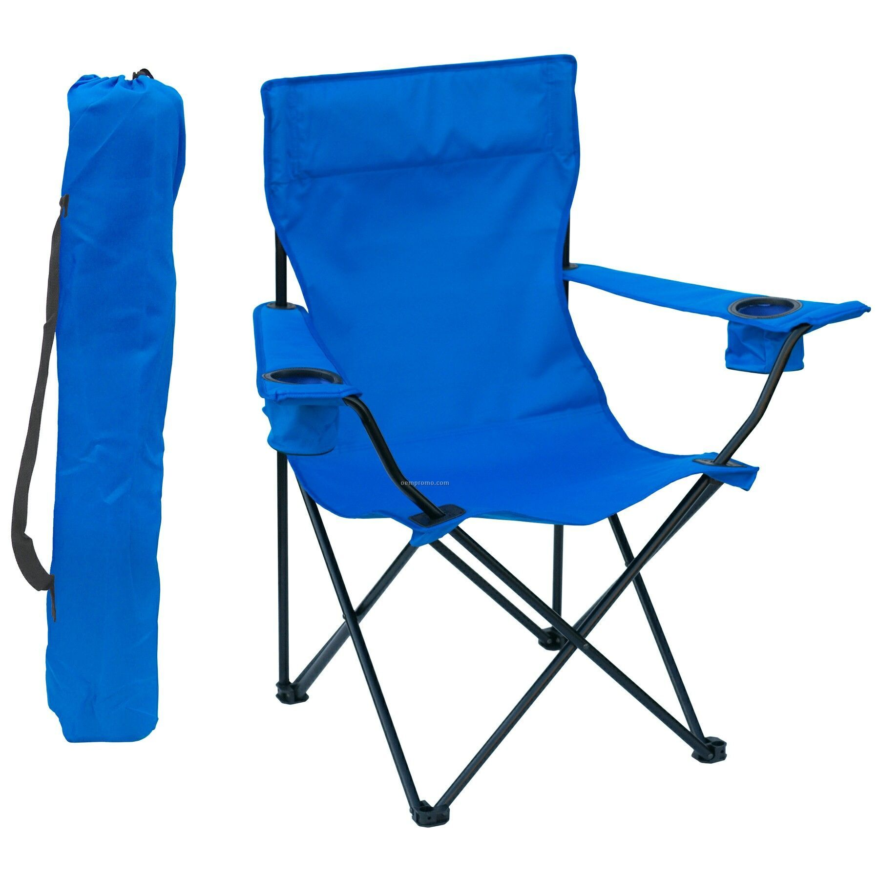 Folding Chair WArm Rests 2 Cup Holders And Carry Bag