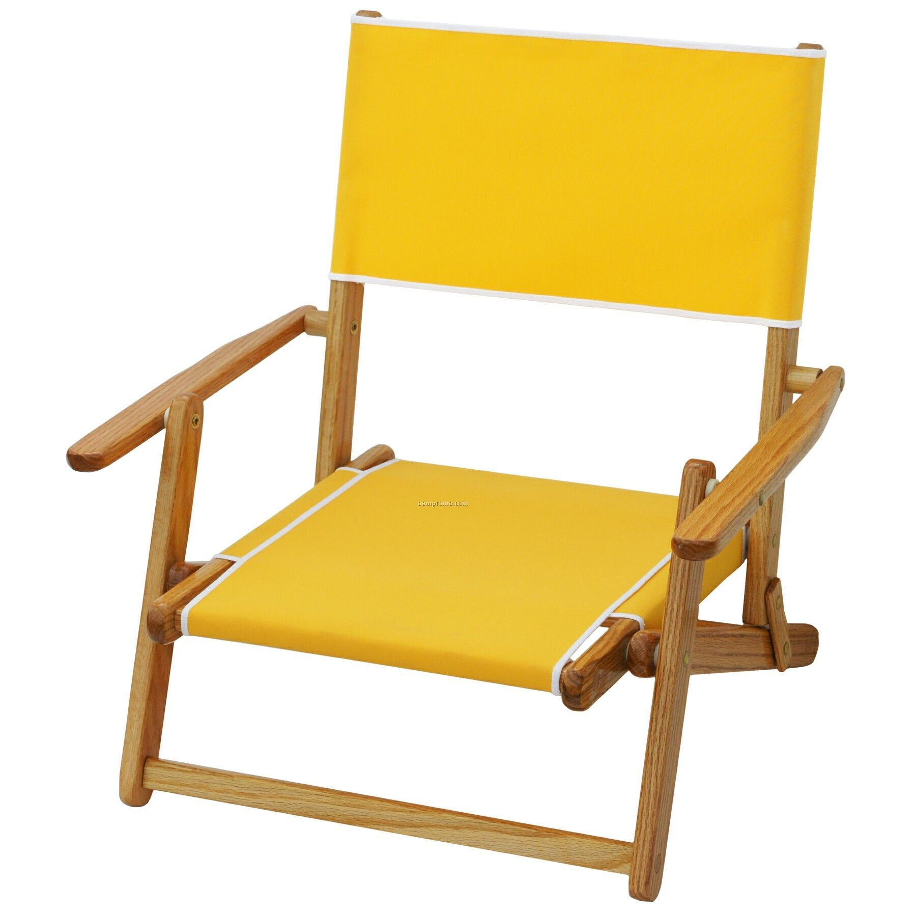 folding low beach chair discount directors chairs us made deluxe solid oak hardwood frame sand china