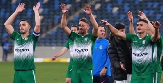 Maccabi Haifa players celebrate (Omri Stein)