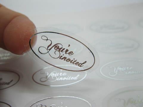500x Silver You Re Invited Envelope Sticker Seals Wedding Invita