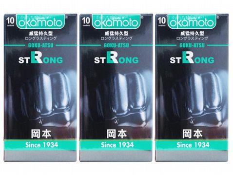 日本 okamoto 岡本~衛生套(STRONG威猛持久型)10入 x3盒保險套 組合款 保險套 - 小三美日|平價美妝