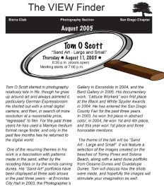 August 2005 Viewfinder Photo Club Newsletter